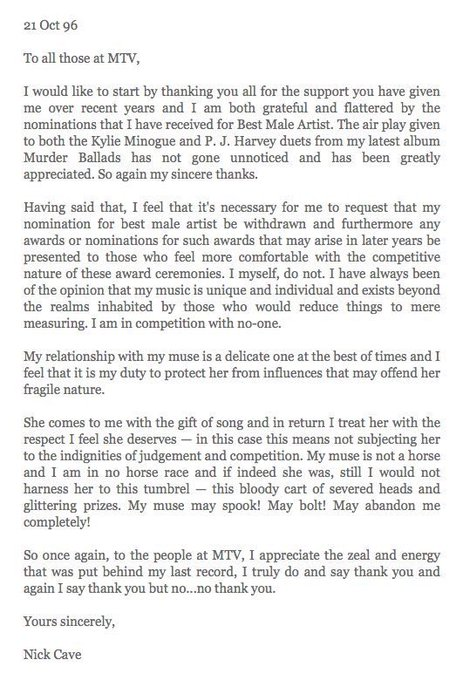 Happy birthday Nick Cave. Here s a letter he wrote to MTV..
