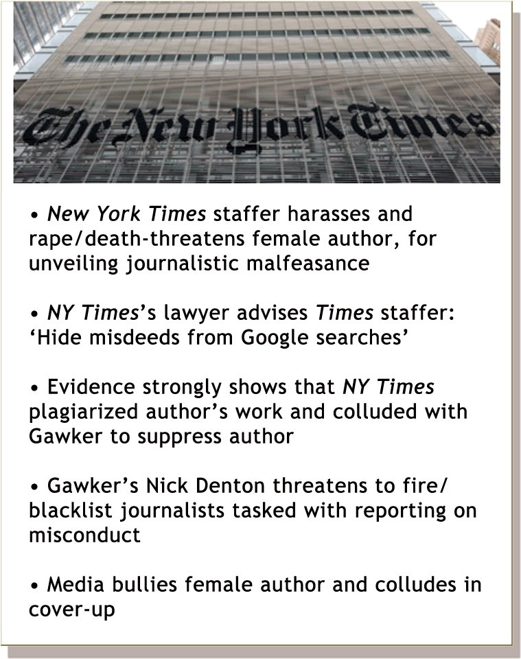 Currently filming a documentary re: a NY Times staffer who persistently harassed and rape/death-threatened a female exposé author for unveiling journalistic malfeasance, and NYT's elimination of their Public Editor to evade accountability.  http://bit.ly/1nEp8fM   #CancelNYT