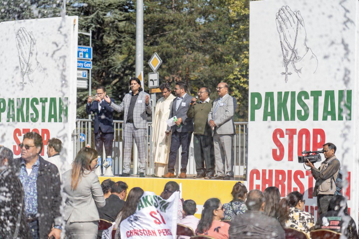 Christians of Pakistani origin raise their voice against their community's systematic persecution in Pakistan. Christians have almost been wiped out.   Today in Geneva 👇 https://t.co/ii0vlkUpUT