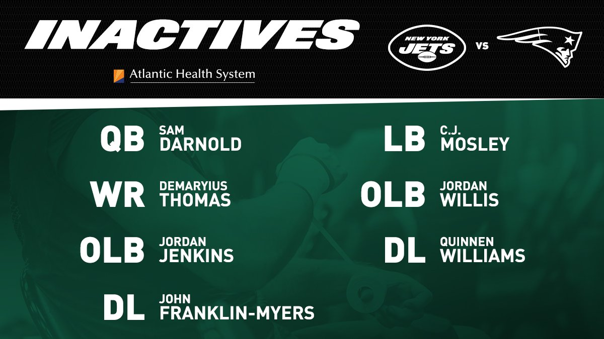 #Jets inactives for #NYJvsNE ⤵️