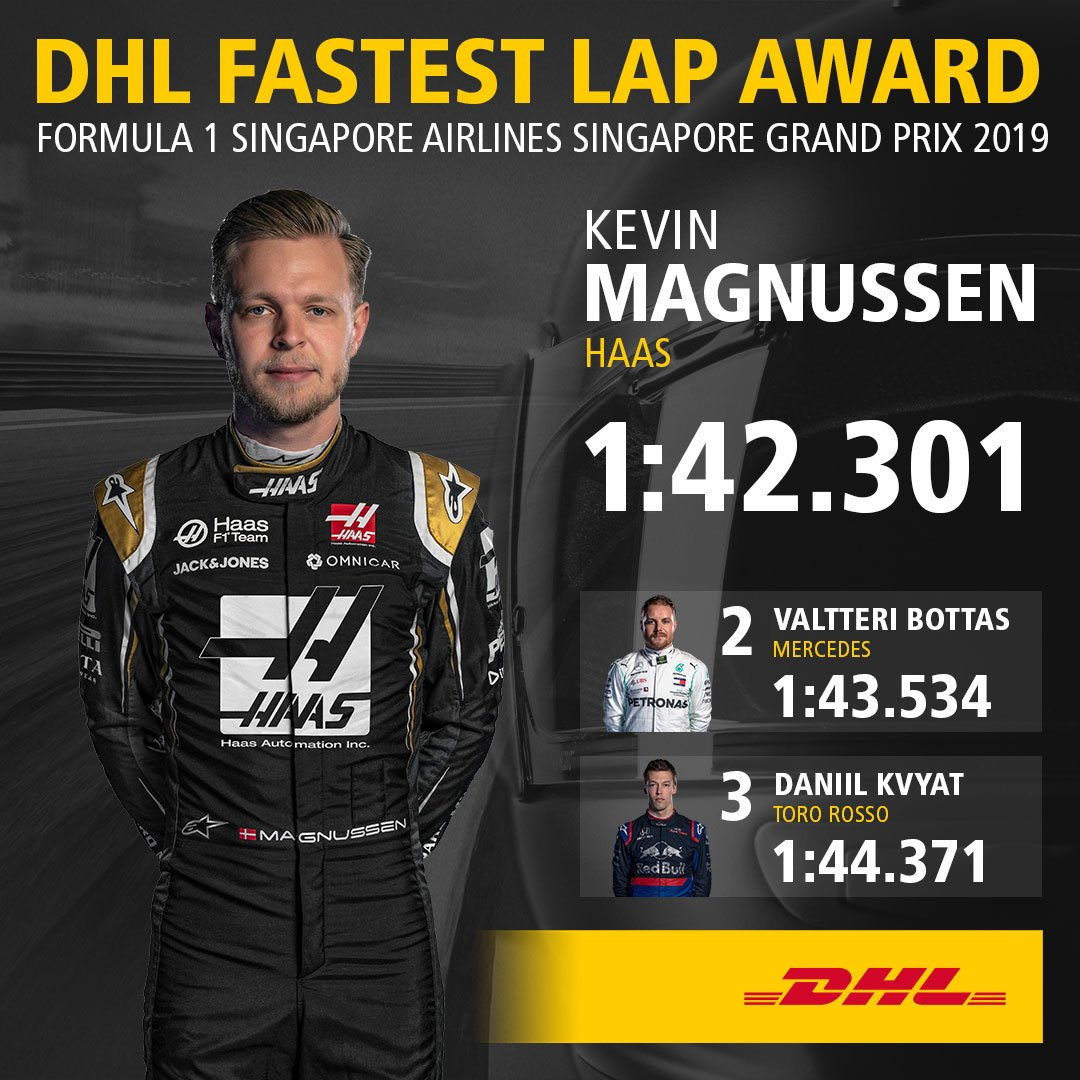 The midfield springs a surprise in Singapore as @KevinMagnussen clocks the fastest lap of the race for @HaasF1Team. For the first time in 2019, the DHL Fastest Lap does not go to one of the top teams #F1 #SingaporeGP More about the DHL Fastest Lap Award ➡️ inmotion.dhl/DHL-FL-Award