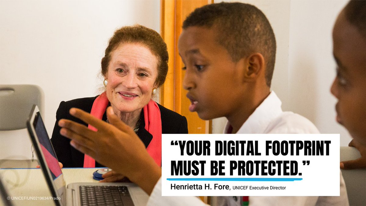 """""""Too often, children do not know what rights they have over their own data. Many are consenting to things they can't fully understand. Children have a specific right to privacy and there is no reason this should not apply online."""" @unicefchief in an open letter #ForEveryChild."""