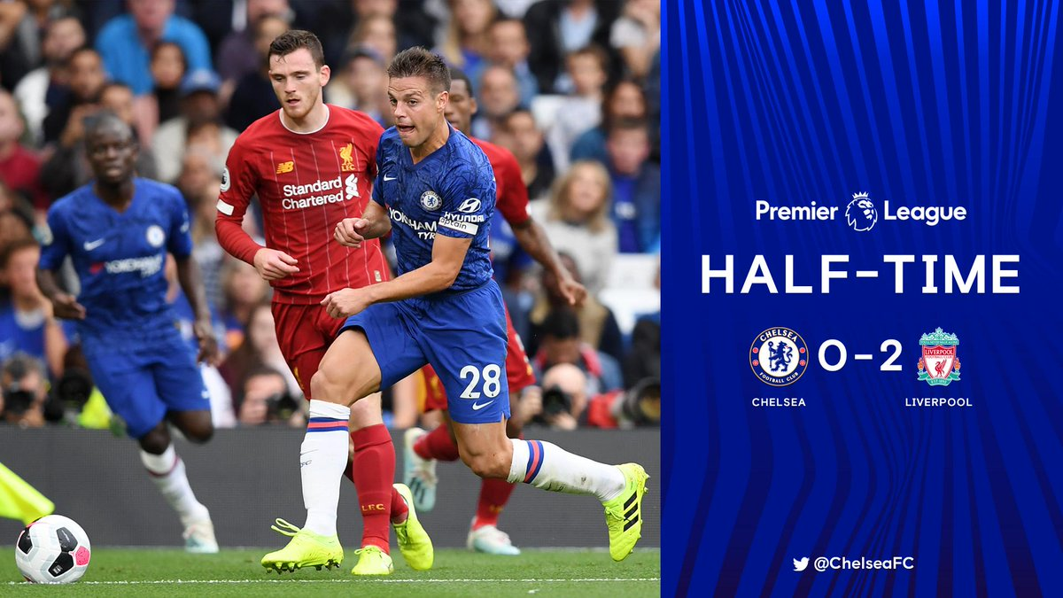 Two down at the break. #CHELIV