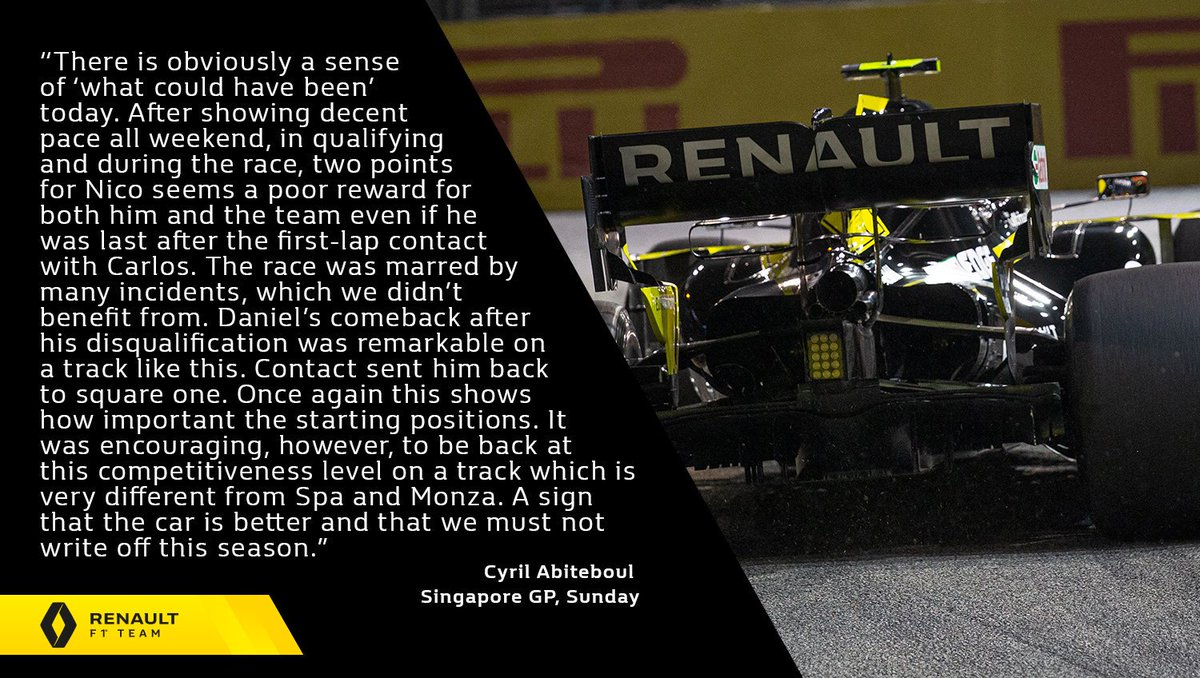 "🎙 ""There is obviously a sense of 'what could have been' today.""  Cyril Abiteboul - #SingaporeGP, Sunday 👇 Full report 👉 http://bit.ly/2ktQvNQ   #RSspirit"