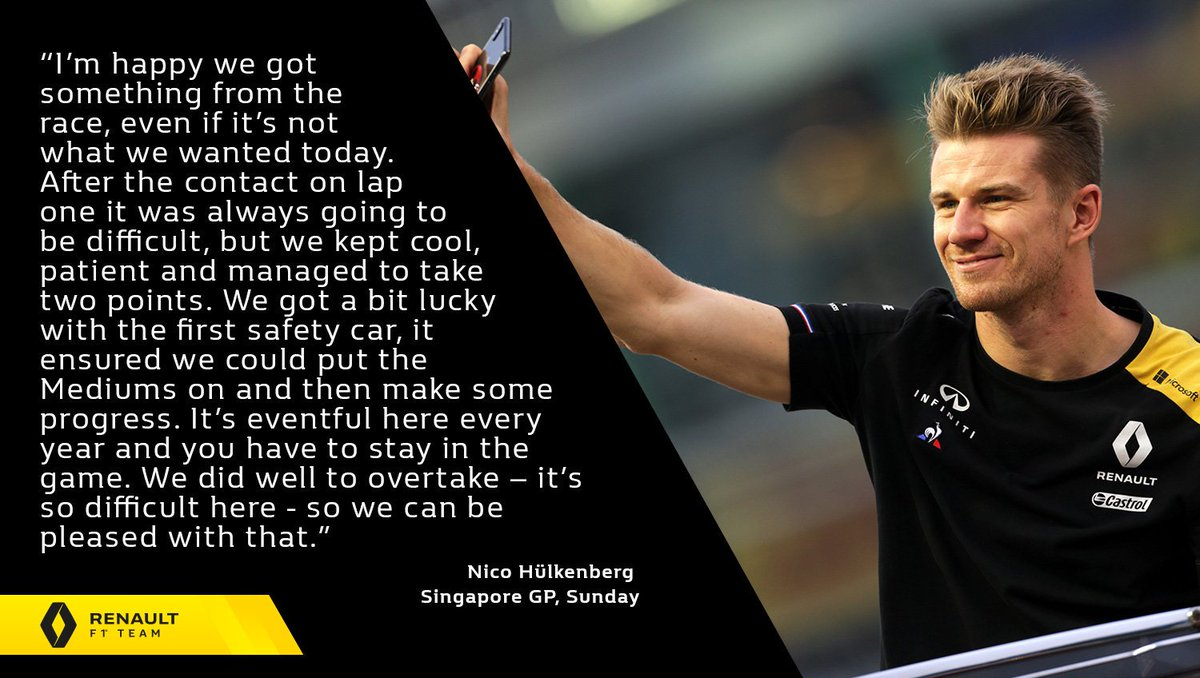 "🎙 ""I'm happy we got something from the race, even if it's not what we wanted today.""  Nico Hülkenberg - #SingaporeGP, Sunday 👇 Full report 👉 http://bit.ly/2ktQvNQ   #RSspirit"