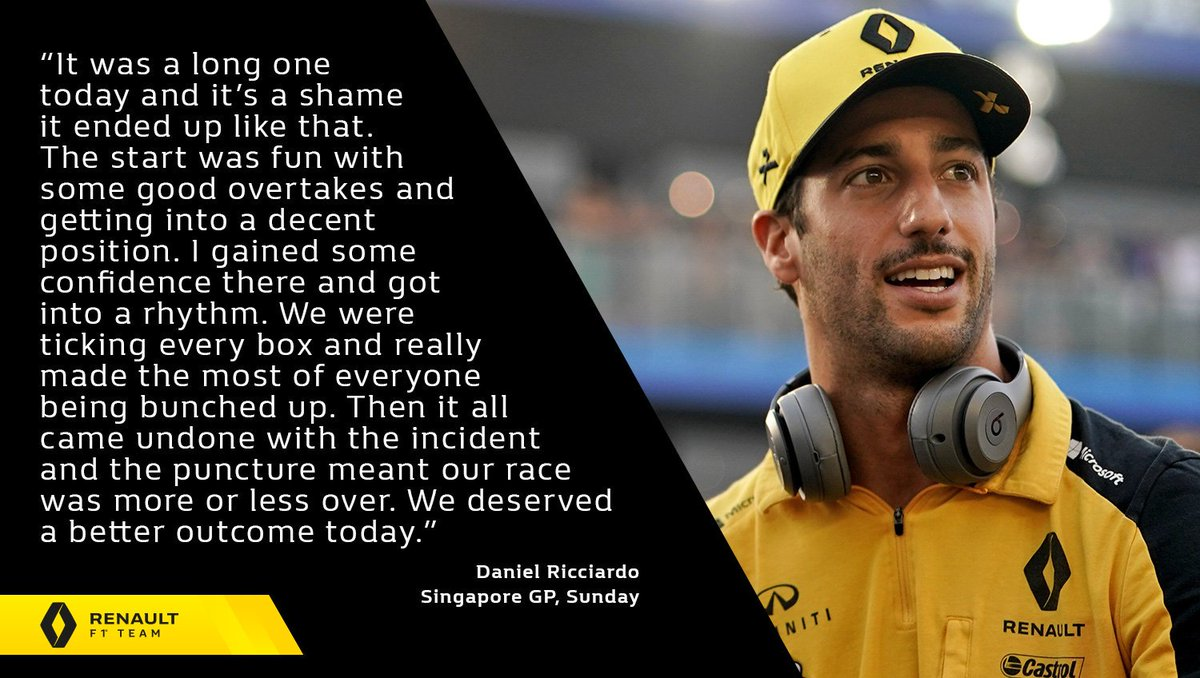 "🎙 ""We deserved a better outcome today.""  Daniel Ricciardo - #SingaporeGP, Sunday 👇 Full report 👉 http://bit.ly/2ktQvNQ   #RSspirit"