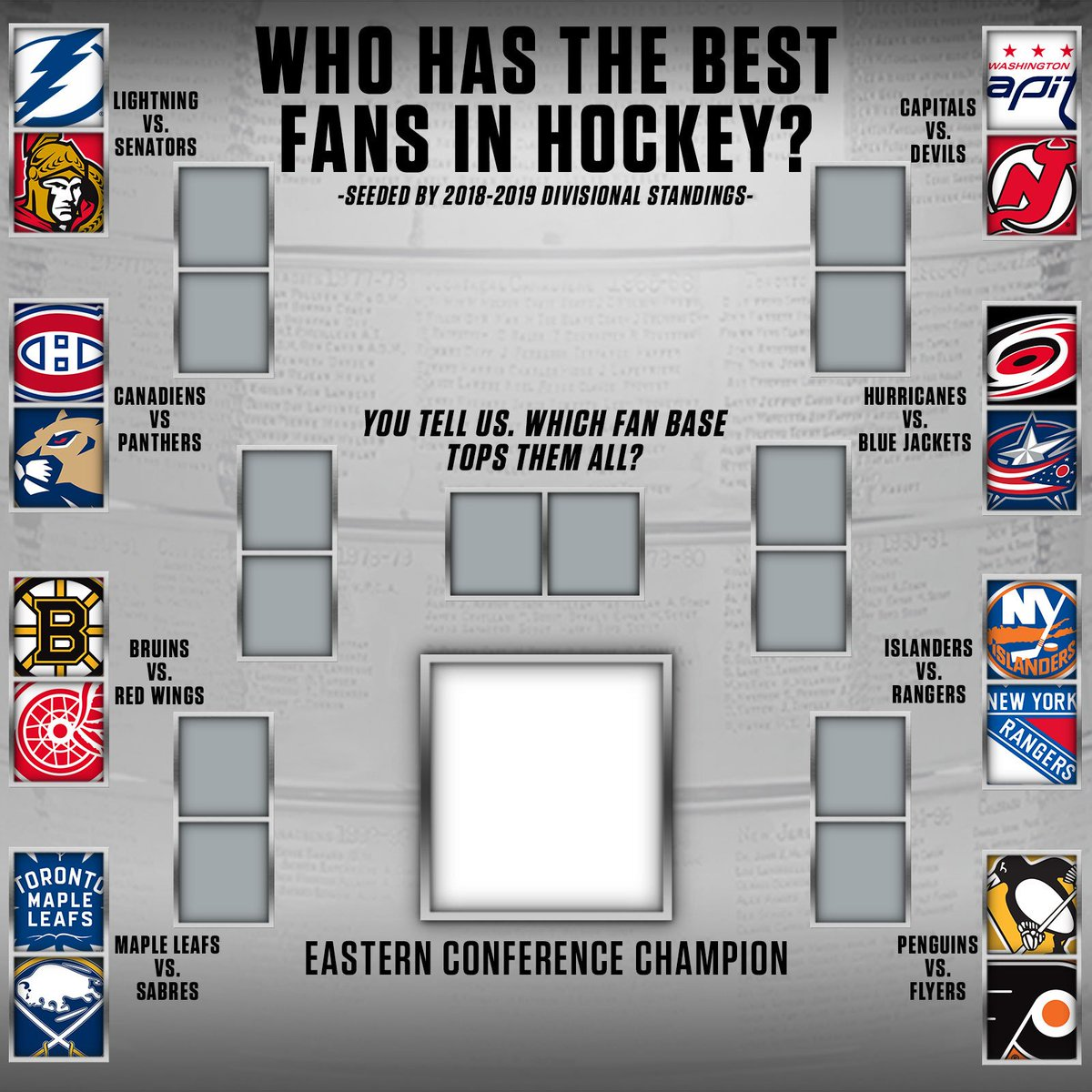 Which team has the BEST FANS in hockey? It's up to you to decide. Let's start with the Eastern Conference. 🚨Voting will be live all week on our Instagram story!