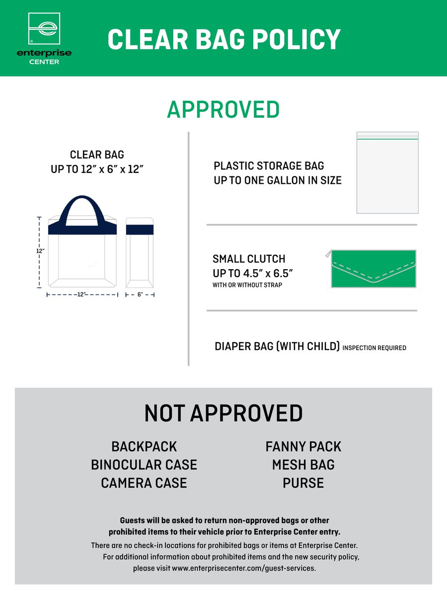 Reminder for fans joining us today: Enterprise Center has implemented a new Clear Bag Policy for all events, including Blues games. stlouisblues.com/clearbag