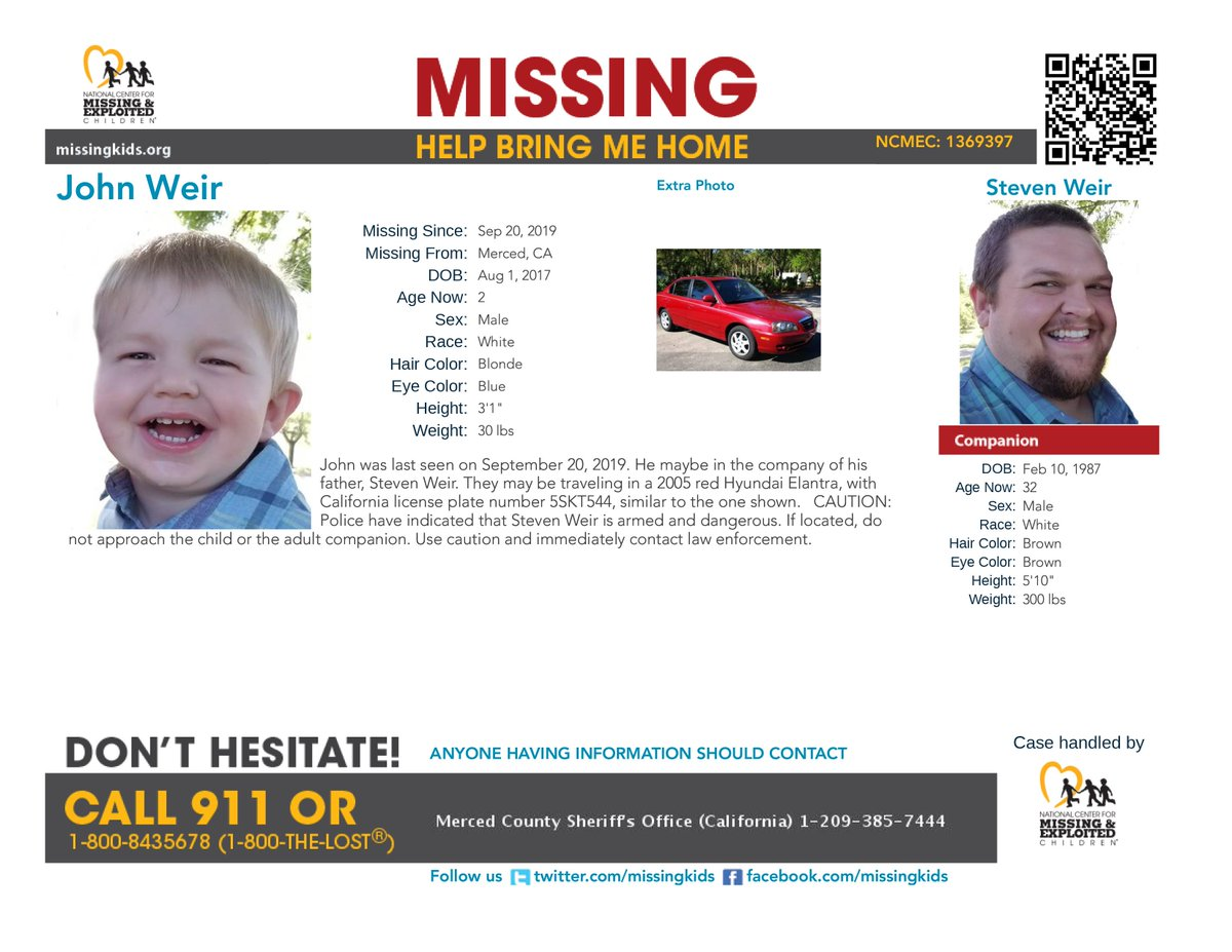 #AMBERAlert! John was last seen on 9/20/2019 in Merced, #California. He maybe in the company of his father, Steven Weir. They may be traveling in a 2005 red Hyundai Elantra, with California license plate number 5SKT544.  CAUTION ADVISED  https://www. missingkids.org/poster/NCMC/13 69397/1/screen   … <br>http://pic.twitter.com/0U8h1pgRnt