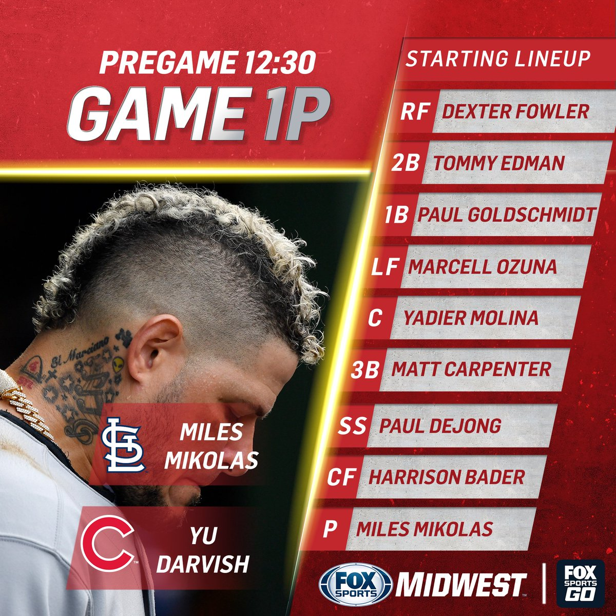 #STLCards go for the four-game sweep today at Wrigley. Toyota Cardinals Live pregame starts at 12:30. FSGO stream: a.fsgo.com/yuEdFtCfPZ #TimeToFly