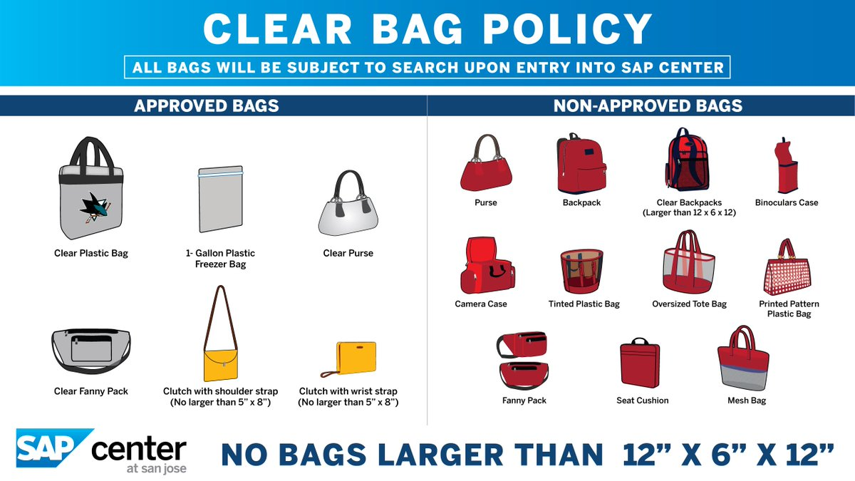 Theres a new clear bag policy at @SAPCenter in effect! Make sure your bag is allowed before you head to #SJSharksFest. More info: bit.ly/2Ijoykr