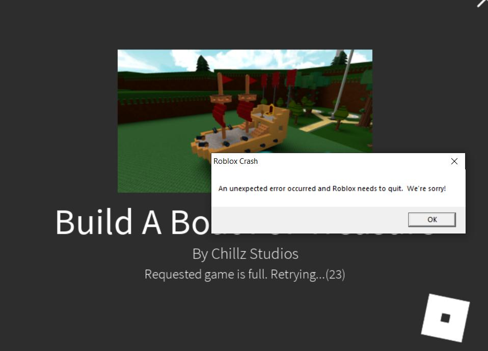 Roblox Crash An Unexpected Error Occurred And Roblox Needs ...