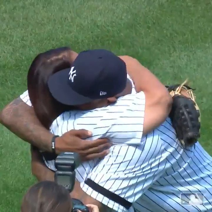 CC Sabathia threw out the first pitch to his mom ♥️  (🎥: @MLB)