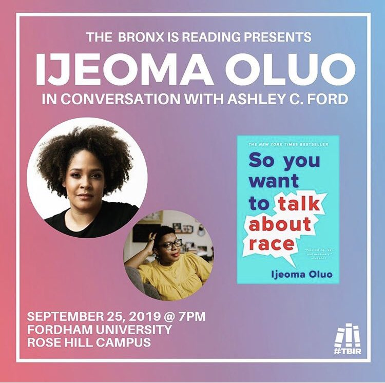 Important upcoming talk that has relevance for classics. @IjeomaOluo and @iSmashFizzle in dialogue! Please RSVP here: eventbrite.com/e/the-bronx-is…