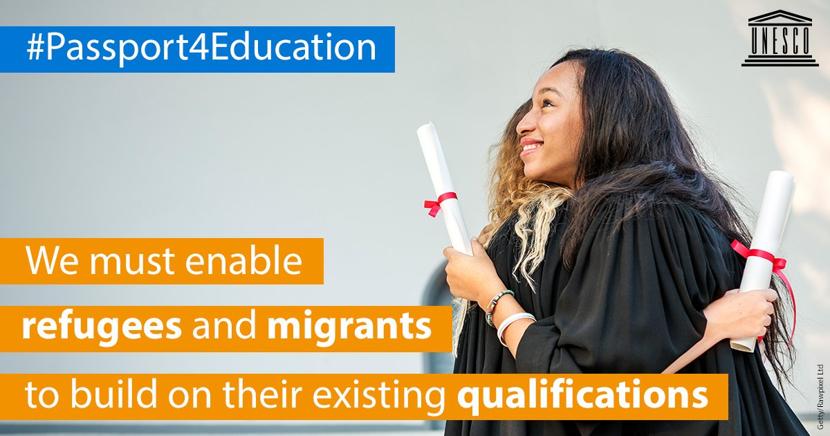 #DidYouKnow? One of the main obstacles refugees and migrants face when applying for #HigherEducation or seeking work is the lack of recognition of their prior studies and qualifications. How do we solve this challenge? 👉on.unesco.org/2lTWiMR #Passport4Education #UNGA