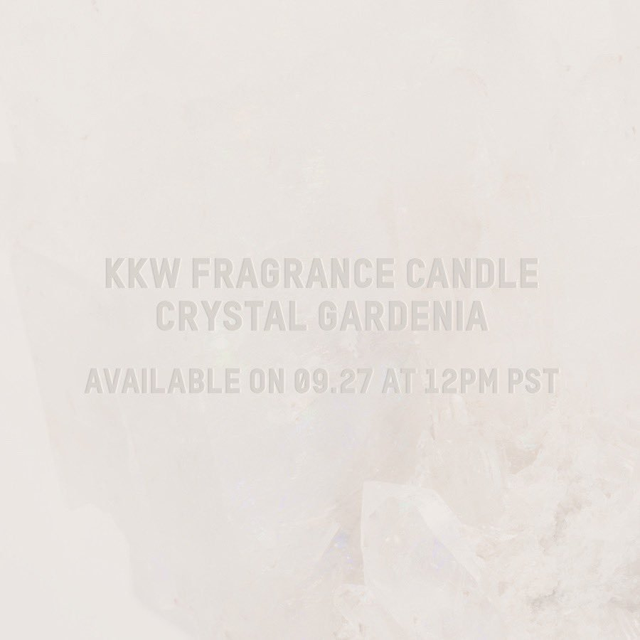 The new #KKWFRAGRANCE  candle is inspired by our signature scent, Crystal Gardenia. Coming to  http://KKWFRAGRANCE.COM   on Friday, 09.27 at 12PM PST