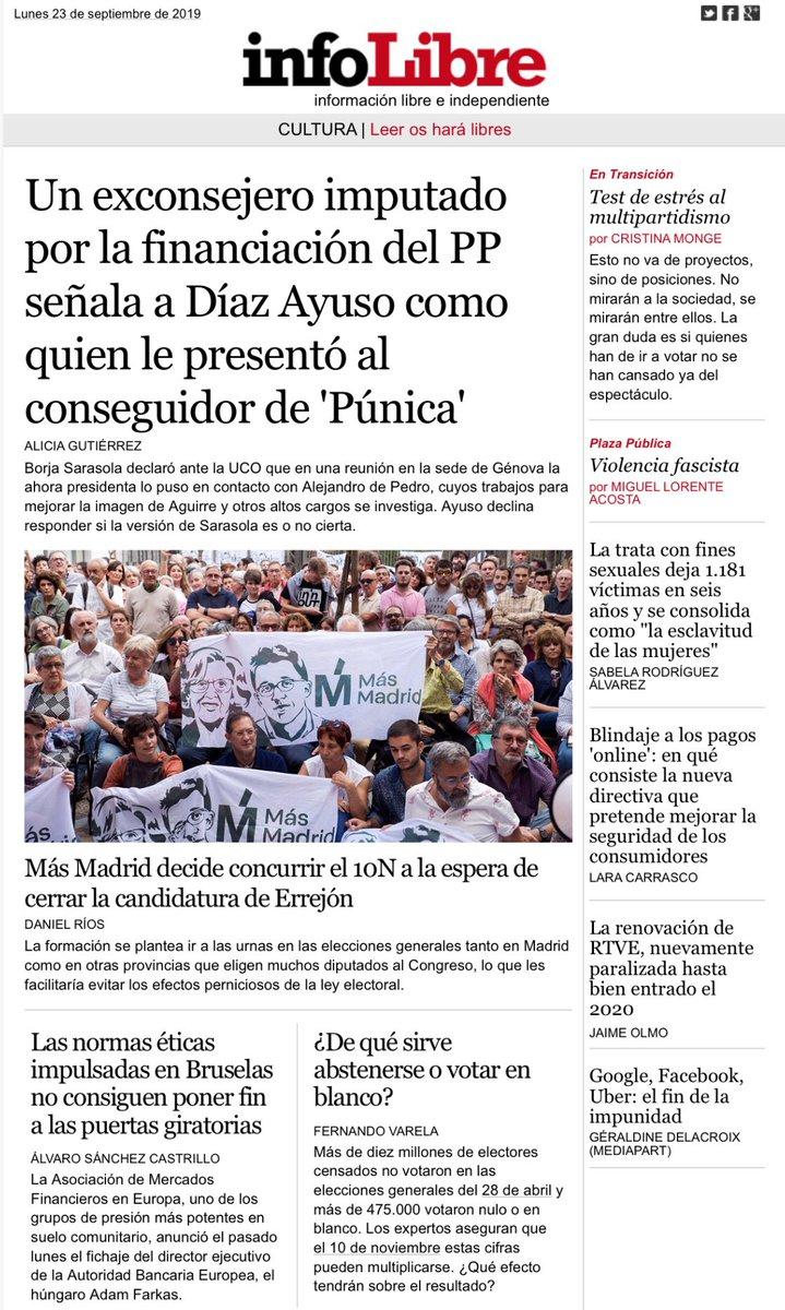 #Investigación en Portada de @_infoLibre: Un exconsejero imputado por la financiación del #PP señala a #DíazAyuso como quien le presentó al conseguidor de la trama #Púnica infolibre.es/noticias/polit…