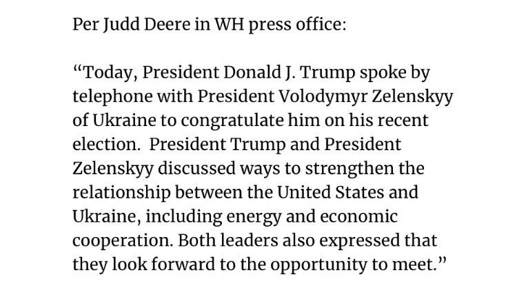 President Trump and President Zelenskyy discussed ways to strengthen the relationship between the United States and Ukraine, including energy and economic cooperation. From one of @cherylbolens White House pool reports on Thursday, July 25th: