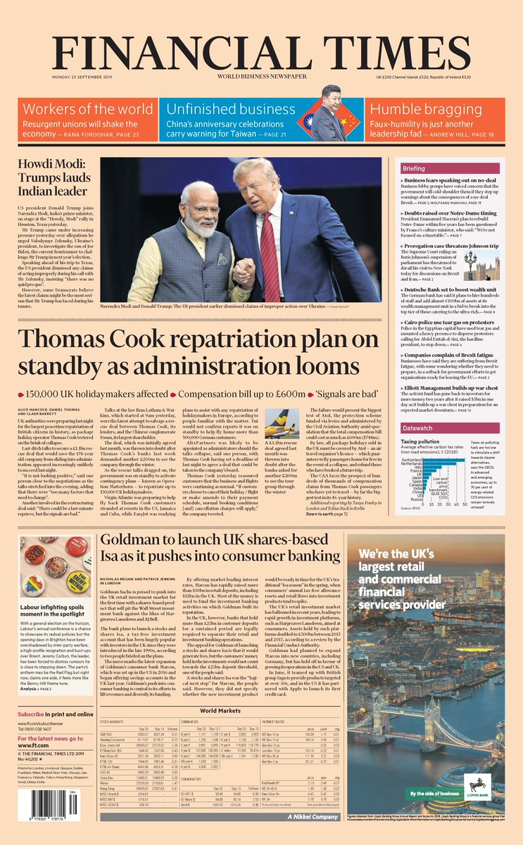 Front page of the Financial Times, UK Edition, for Monday 23 September 2019