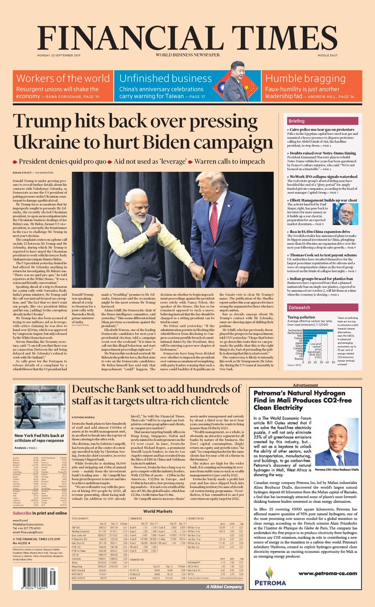 Front page of the Financial Times, International Edition, for Monday 23 September 2019