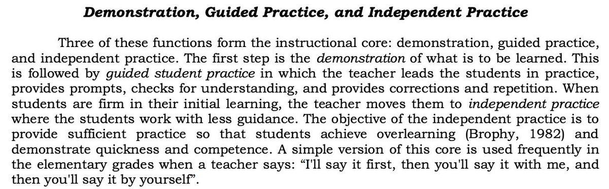 'The Instructional Core' from Rosenshine's 1986 paper - researchgate.net/publication/23…