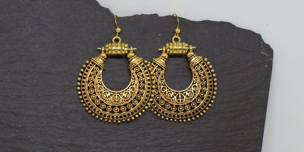 Ornate antique gold tone tribal hoop earrings. Such stunning eye catching earrings that swing as you move.     https:// etsy.me/2Z68zvH      #flockbn #atsocialmedia #onlinecraft #UKCraft #eshopsuk #twda #handmade<br>http://pic.twitter.com/kSE0e8meAz