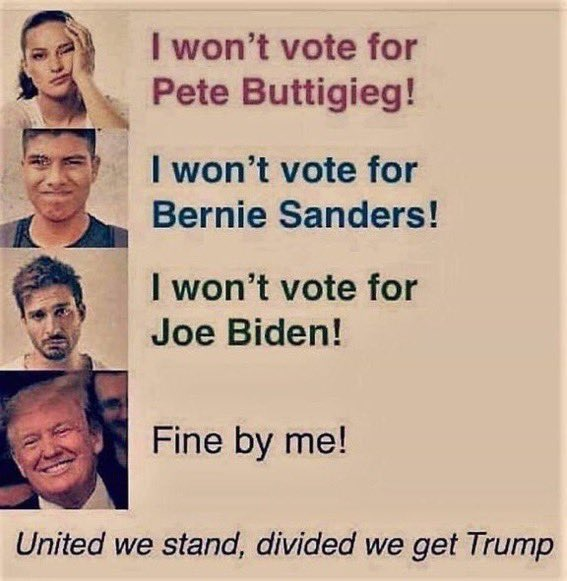 @NavyNana2 #VoteBlueNoMatterWho division is what they want!