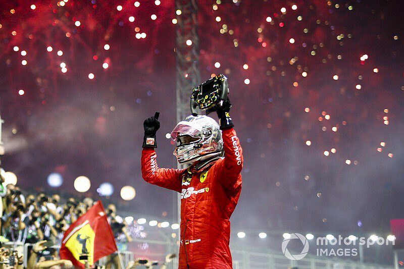A race win finally came for Vettel in 2019, making him the outright most successful driver at the #SingaporeGP! #F1 #essereFerrari   📸:http://Motorsport.com
