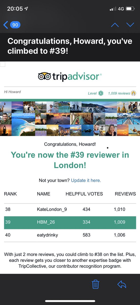 Our founder, Howard Morgan, is now in the Top 40 Tripadvisor reviewers in London! #CustomerExperience