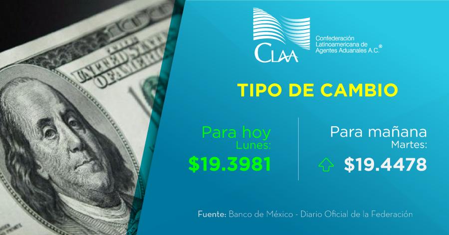 #TipoDeCambio publicado hoy lunes 23 de septiembre en el #DOF, $19.4478 M.N. Aplicable para mañana martes.  #CLAAInforma #AgenteAduanal #ComercioExterior #Aduanas #ComunidadAduanera #DiarioOficial