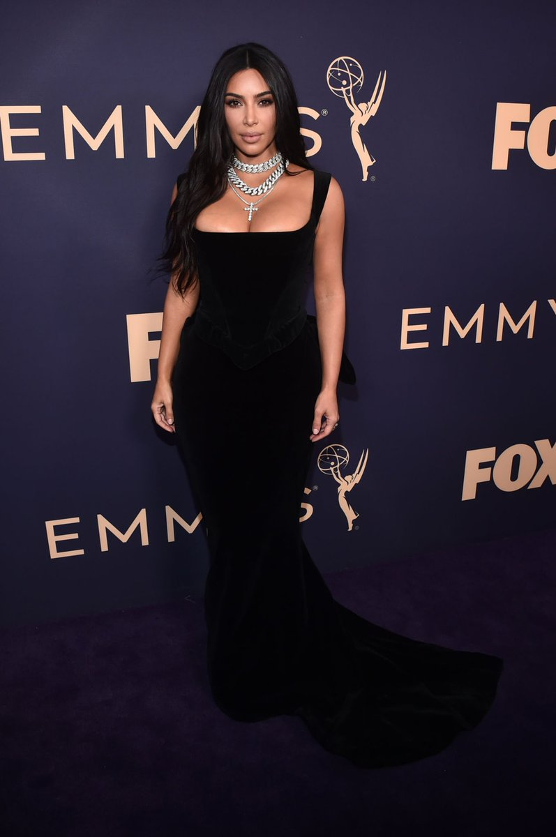 Kim on the carpet at the Emmy's in Los Angeles, CA on September 22, 2019.
