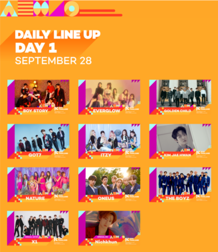 KCON 2019 Thailand Lineup - Day 1 September 28  Boy Story Everglow Golden Child GOT7 ITZY Kim Jaehwan NATURE ONEUS THE BOYZ X1 2PM Nichkhun <br>http://pic.twitter.com/1Jgn2BJL0G