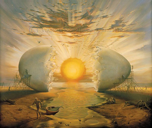 Sunrise by the Ocean by Vladimir Kush  The egg symbolizes the rising Sun and the beginning of life.  In many myths about the creation of the world, a cosmic egg is laid by a giant bird in a formless, ancient ocean.    https:// vladimirkush.com/sunrise-by-the -ocean  … <br>http://pic.twitter.com/yCX2b4Jvfi