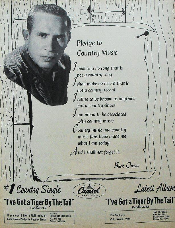 The pledge Buck Owens published in Music City News featured on #CountryMusicPBS. How many artists today would, or could make this pledge?<br>http://pic.twitter.com/rMlodMzQZw