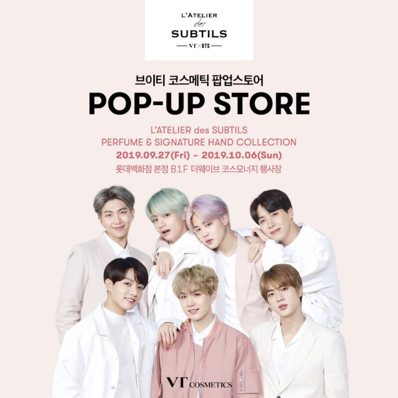VT cosmetics will show new product,  'L'ATELIER des SUBTILS' Hand cream at the pop up store at Lotte Department store in Seoul. The scents of those Hand cream will be same as the scents of perfume @BTS_twt  'Bois, Coton, Vert, Citrus  Poudre, Musk & Ocean'  http:// cm.beyondpost.co.kr/view.php?ud=20 190923094256256346a9e4dd7f_30  … <br>http://pic.twitter.com/yV7azKiWUU