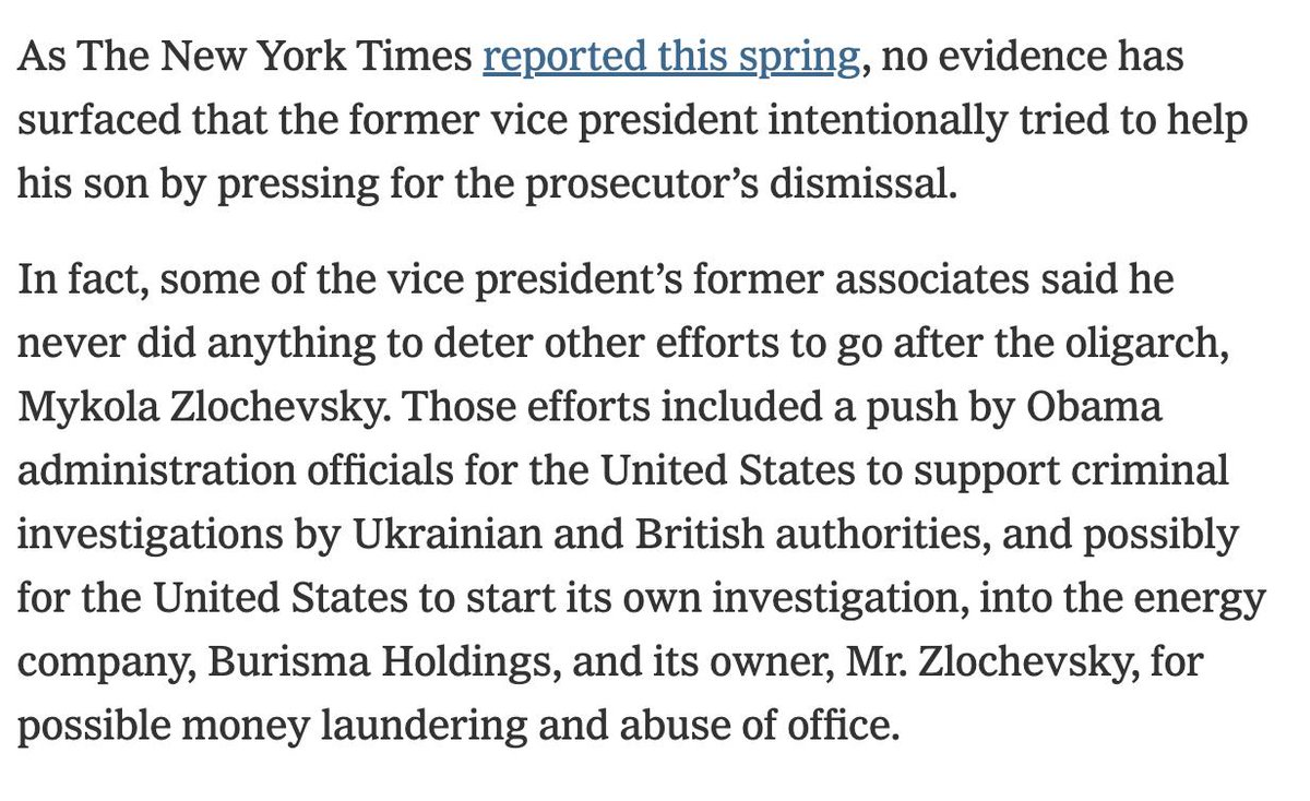 "Quite a tease by Ken Vogel here. He said there was ""more to the story"" the other day. Trump got excited and forwarded it. So here it is. And...it confirms that the Bidens did nothing wrong in Ukraine. https://www.nytimes.com/2019/09/22/us/politics/biden-ukraine-trump.html …"