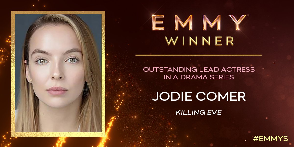 The #Emmy for Lead Actress in a Drama Series goes to @JodieComer (@KillingEve)! This is her first #Emmys win! <br>http://pic.twitter.com/6uFTqztiQ2