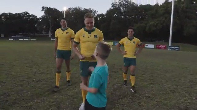 A few of our boys surprised comp winner Max, to tell him that he was heading to Japan with the team as the #Wallabies Junior Mascot at #RWC2019! Did you see Max escort the team onto the field against Fiji Rugby? #GoldBlooded