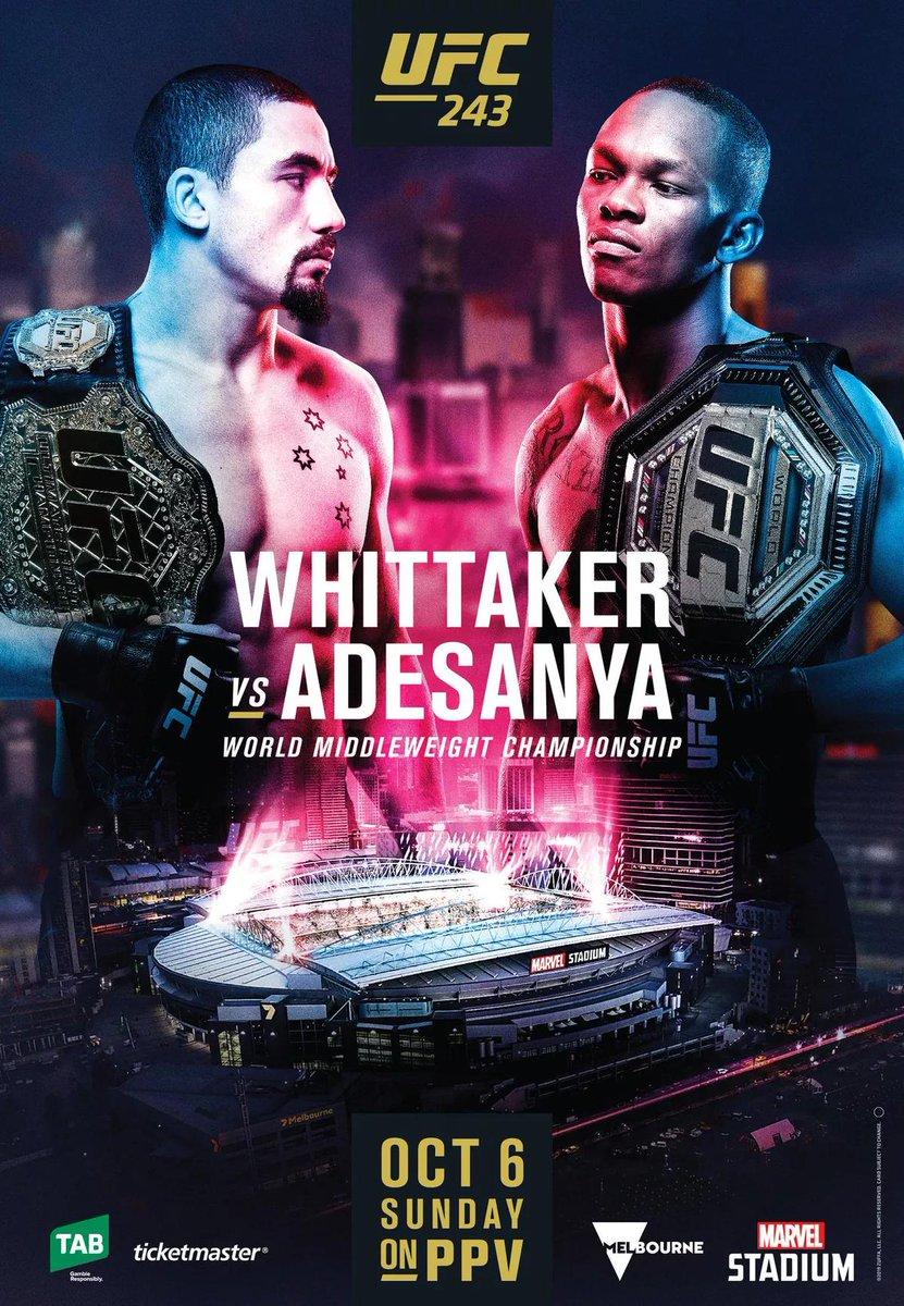 UFC 243 Whittaker vs Adesanya poster