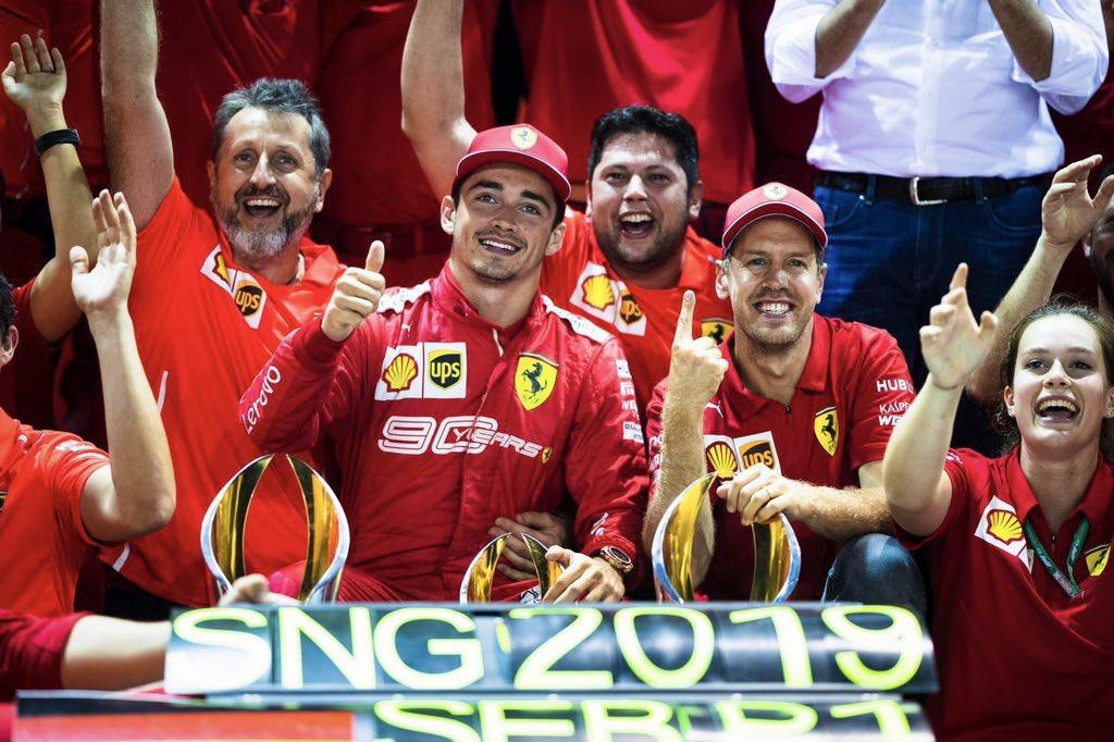 Así es como me gusta que termine un buen fin de semana ♥️😍🏁🏎💨 #FamiliaTifosi #Seb5 #Leclerc @F1Tornello @ScuderiaFerrari #F1xFOX