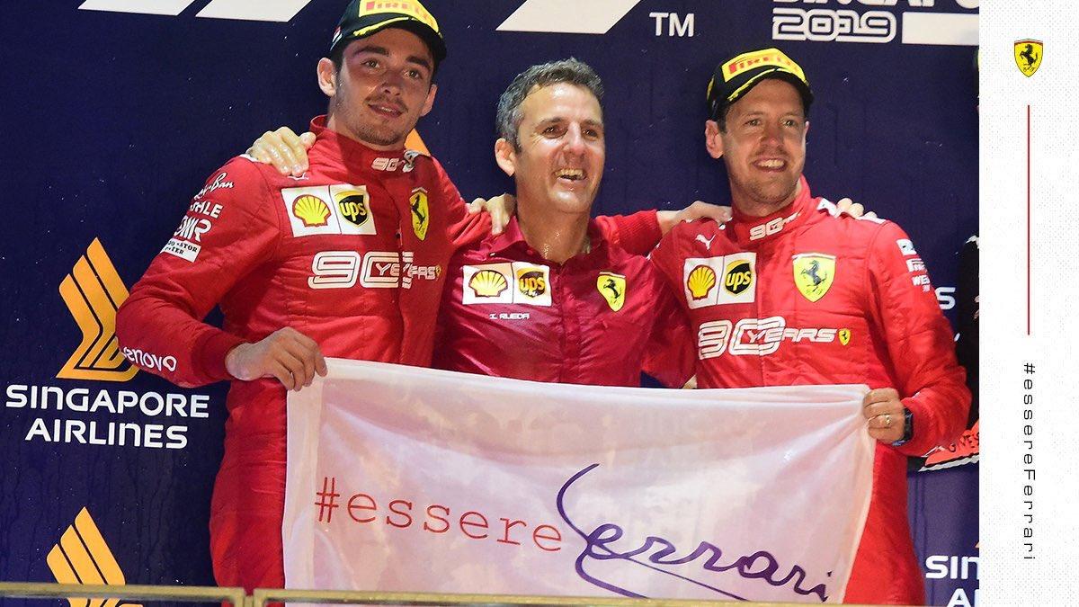 GRAZIE RAGAZZI! 🙏❤️🔴 @ScuderiaFerrari #essereFerrari #Vettel #Leclerc #SingaporeGP