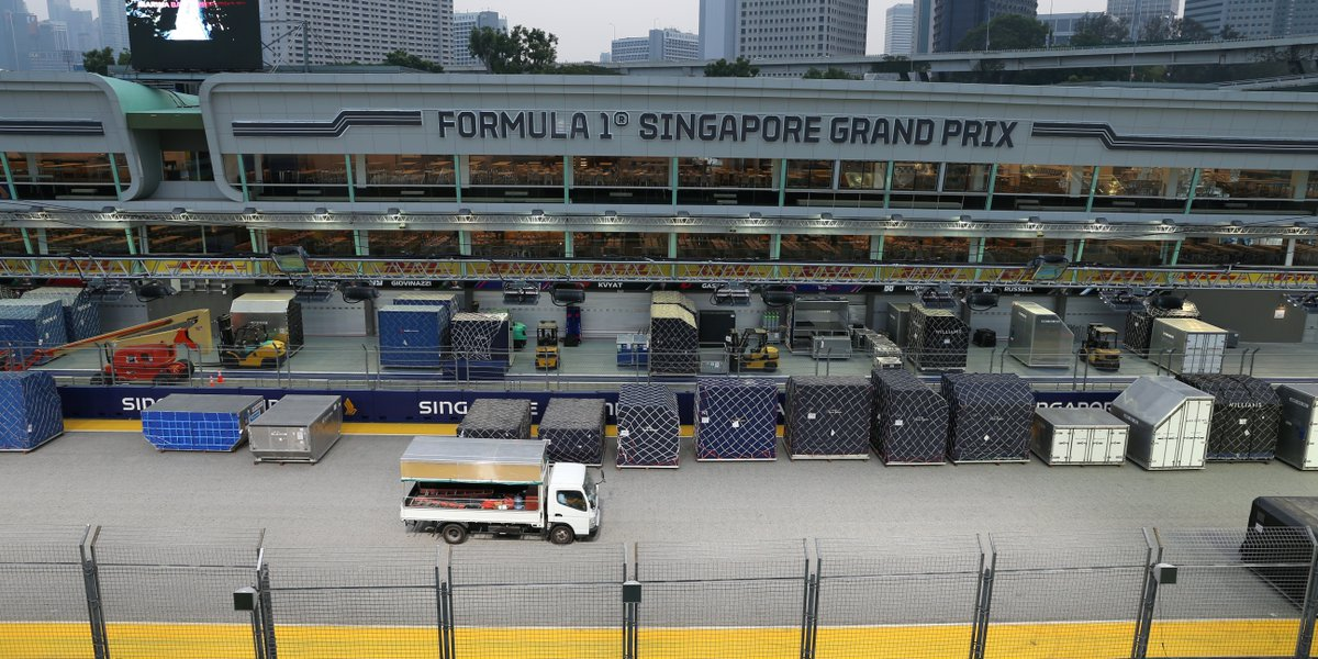 Goodbye, #Singapore! No let-up for F1 teams and drivers as they immediately head off to contest next weekend's #RussianGP. Delivered by #DHL. #DHLF1 #F1