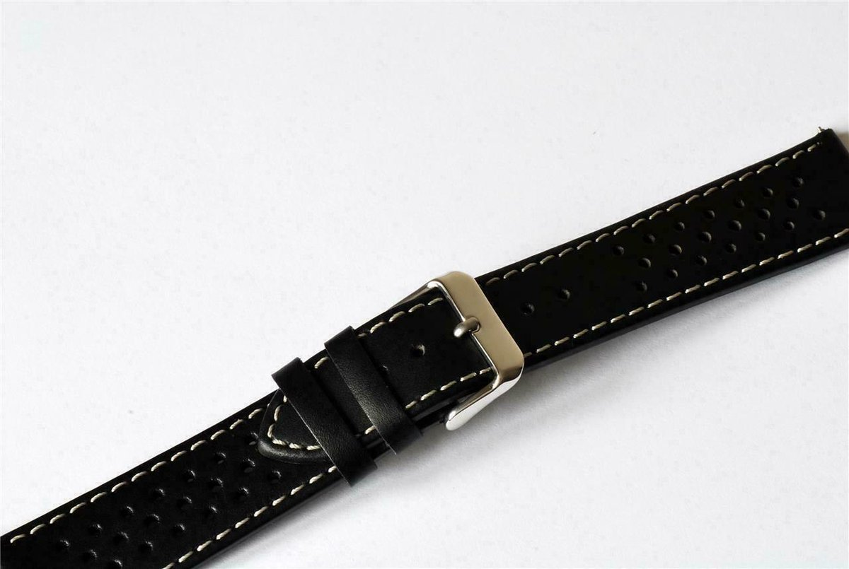18mm, 20mm, 22mm and 24mm LUXURY LEATHER WATCH STRAP in BLACK, BLUE, GREEN, RED and YELLOW. Semi Matt finish with perforated holes and contrasting white stitching #GrandPrix #Olympic  #LeatherWatchStraps #Watches https://www.ebay.co.uk/itm/18mm-24mm-LUXURY-LEATHER-WATCH-STRAP-BLACK-BLUE-GREEN-RED-YELLOW-RACING-PRIX/372508368259?hash=item56bb3a9d83:m:mWo_eliKp60hLwjFTRbN3FQ&var=641299981962…