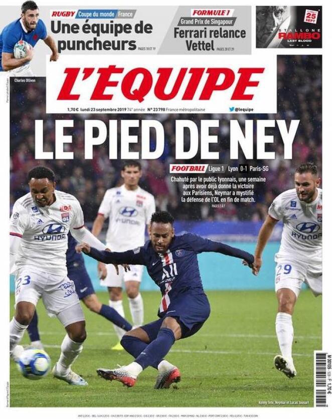 🇫🇷 Front page of #Equipe 📰 2019-09-23   #edicola #primapagina #Psg #Marseille #Lyon #Monaco