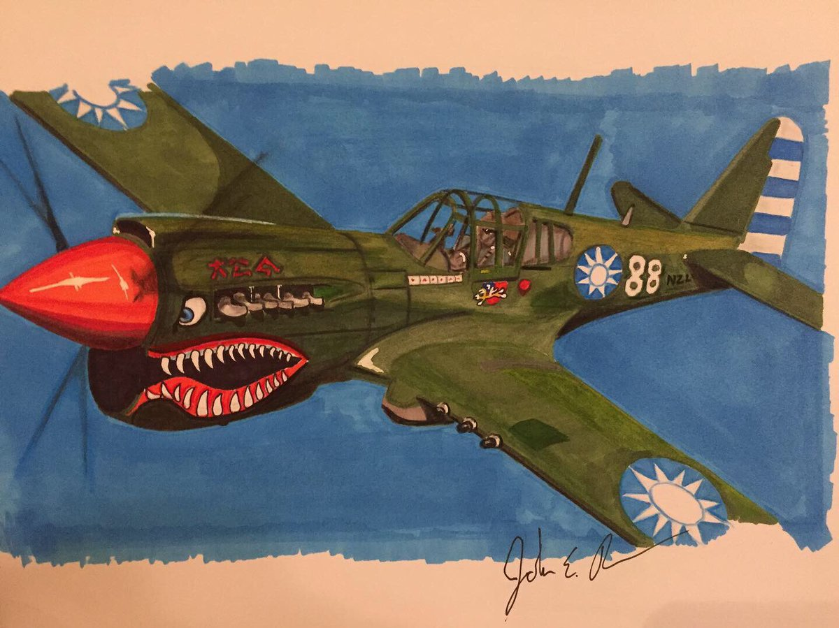 My rendition of a P40 Warhawk to end my weekend of practicing sketches. While I hurried a bit it was fun-I still have a long ways to go.  #p40warhawk #prismacolor #ww2art #tradionalart #sketching #drawing
