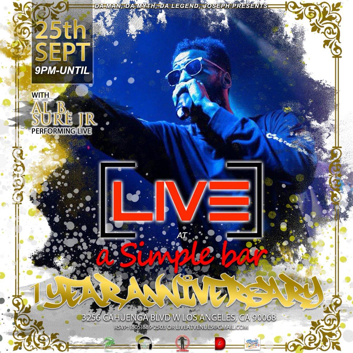 #LIVEatSimpleBar 1 Year #Anniversary #RedCarpet #Mixer #Show & #LIVE #Performance with #RecordingArtist @bsurealbjr, #Host #DaManDaMythDaLegendJoseph, @NoritaBango, @donbgotdabeats & #FoodTruck also a #Surprise #DJ #Spinning #Wednesday #September #25th #9pm to #2am @asimplebar