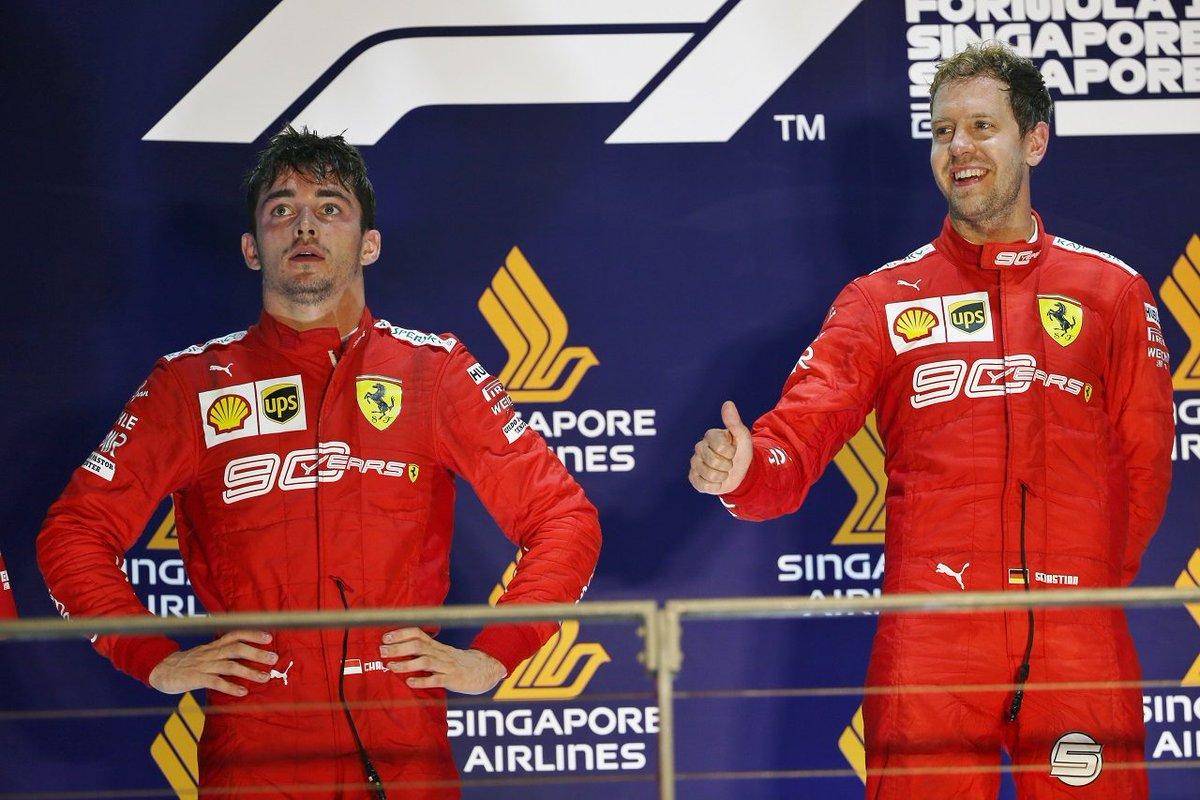 """""""フェアでないアンダーカット""""で勝利を逃したルクレールが無線で怒り。フェラーリ代表は「予想外の事態」と説明 https://www.as-web.jp/f1/524607 #2019年F1ニュース #F1 #f1jp #F1シンガポールGP #フェラーリ"""
