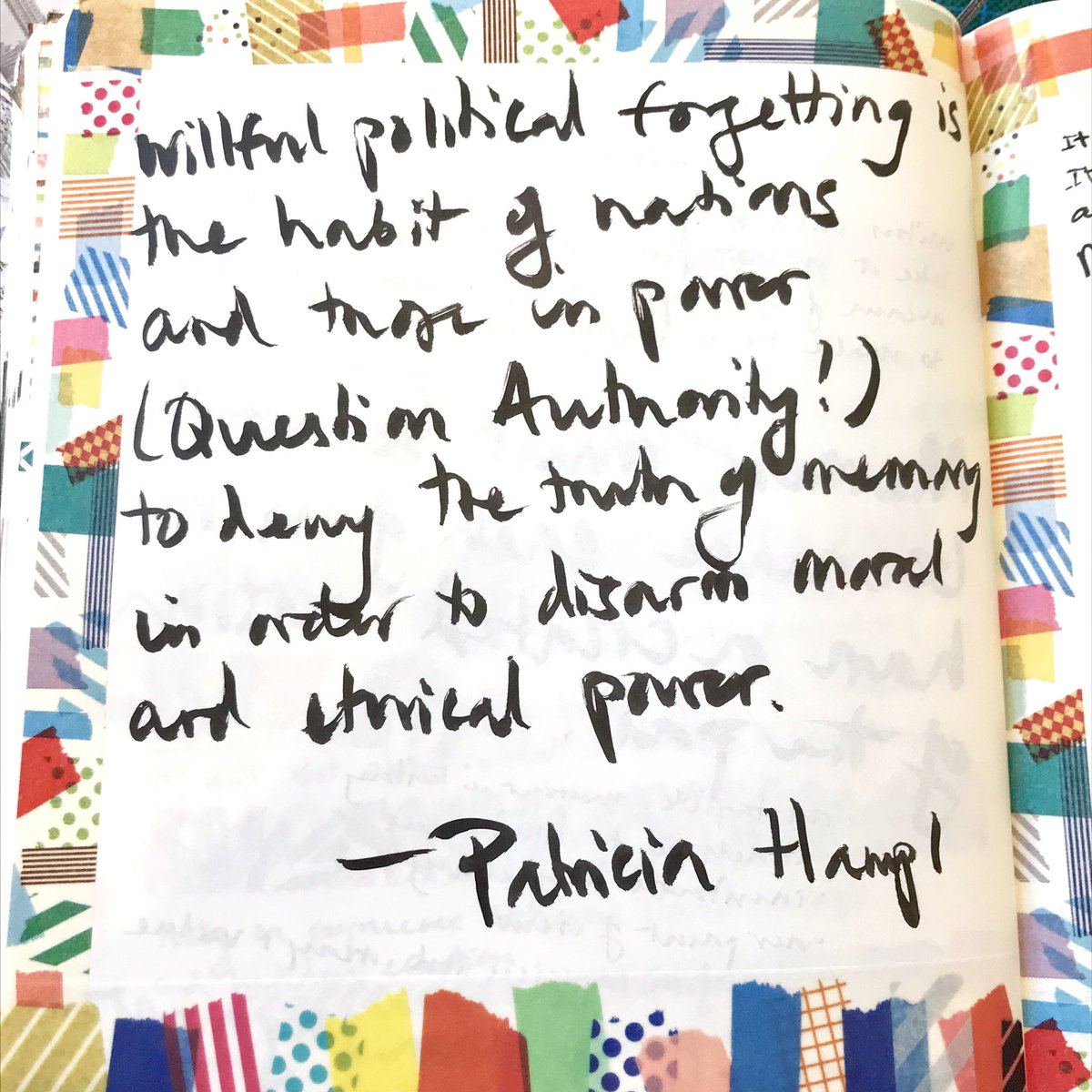 'Willful political forgetting is the habit of nations and those in power to deny the truth of memory in order to disarm moral and ethical power.' PatriciaHampl #Resist #MondayMotivation #Use #Memory & #Imagination #Write #Create #QuestionAuthoritypic.twitter.com/AV2ZDoVmA4