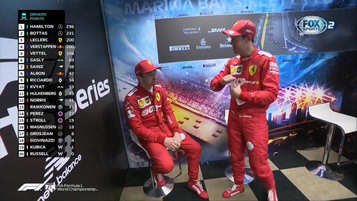 Campeonato de pilotos: #Hamilton #Bottas #Leclerc #Verstappen #Vettel #F1 #F1xFOX #F1DriveroftheDay #GPSingapur #SingapurGP #GPSingapur2019 #MovistarPlay #MovistarPlayPeru