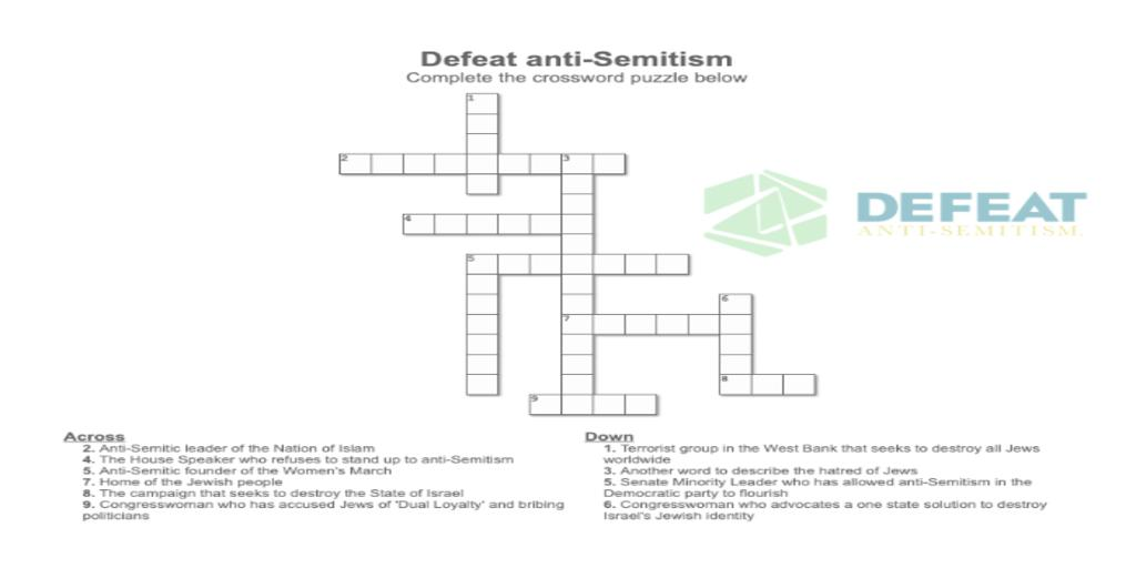 Defeat Anti Semitism On Twitter Can You Figure Out All The Clues For This Crossword Puzzle Below Let Us Know What You Come Up With
